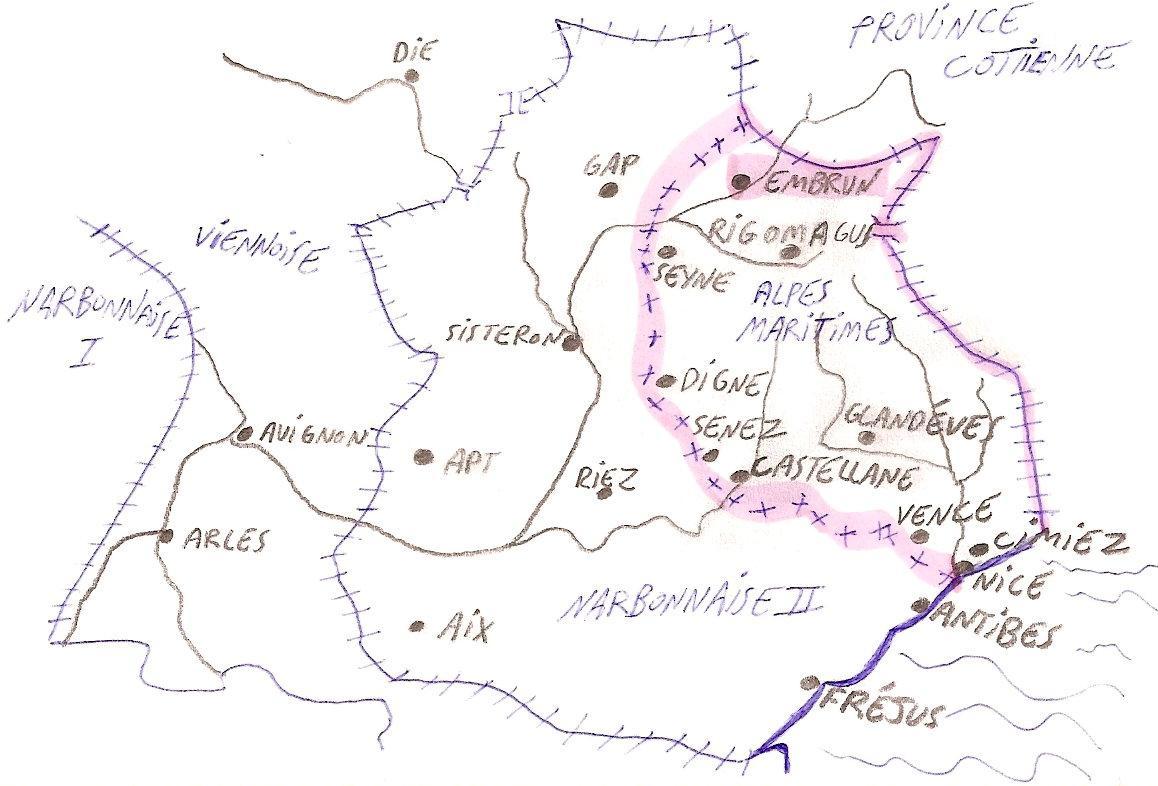 carte alpes maritimes IV eme siécle
